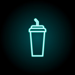 plastic cup neon icon. Elements of fast food set. Simple icon for websites, web design, mobile app, info graphics