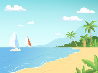 Seaside landscape. Summer beach with palm trees sailboats adventure cartoon outdoor background. Illustration of summer beach sea with sailboat