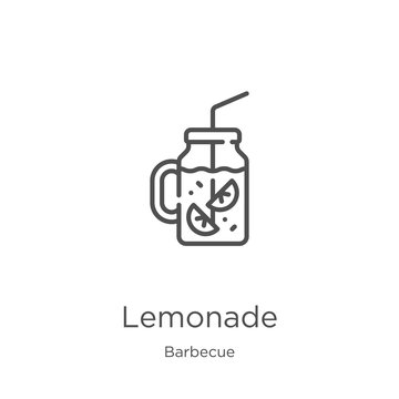 lemonade icon vector from barbecue collection. Thin line lemonade outline icon vector illustration. Outline, thin line lemonade icon for website design and mobile, app development.