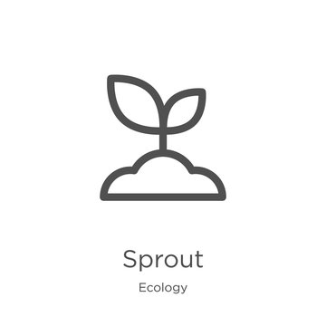 sprout icon vector from ecology collection. Thin line sprout outline icon vector illustration. Outline, thin line sprout icon for website design and mobile, app development.