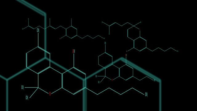 A group of cannabinoid molecules. Black background