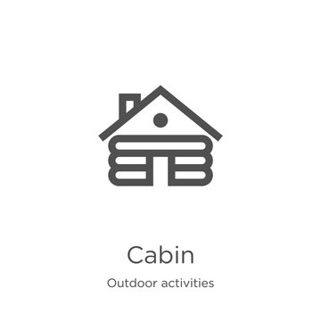 cabin icon vector from outdoor activities collection. Thin line cabin outline icon vector illustration. Outline, thin line cabin icon for website design and mobile, app development.