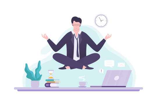 Office worker in yoga pose. Meditation on the work