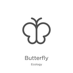 butterfly icon vector from ecology collection. Thin line butterfly outline icon vector illustration. Outline, thin line butterfly icon for website design and mobile, app development.