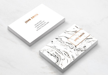 White Marble Business Card Layout
