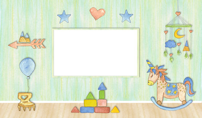 Mock up poster in baby room, watercolor illustration.