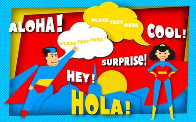 Super heroes poster in retro halftone technique