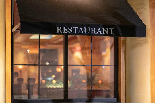 Restaurant background from outside restaurant