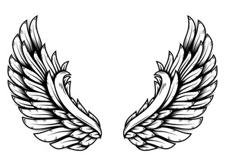 Wings in tattoo style isolated on white background. Design element for poster, t shit, card, emblem, sign, badge. Wall mural