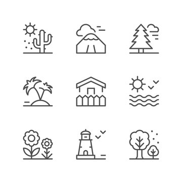 Set line icons of landscape