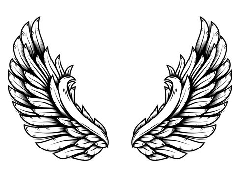 Wings in tattoo style isolated on white background. Design element for poster, t shit, card, emblem, sign, badge.