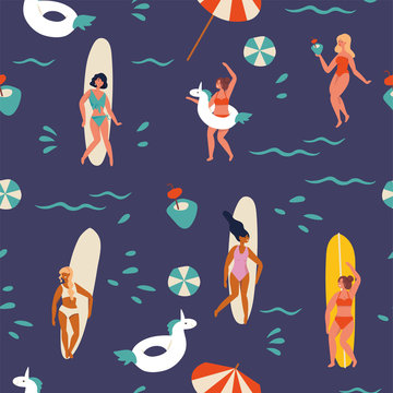 Vector illustration girls surfer standing with a surfboards and having fun on the beach, drinking tropical cocktails and dancing. Summertime seamless pattern.