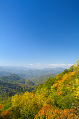 Cherohala Skyway in late October at the peak of the Autumn leaf color season.