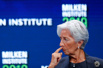 Christine Lagarde, Managing Director and Chairwoman of the International Monetary Fund gestures during the Milken Institute's 22nd annual Global Conference in Beverly Hills