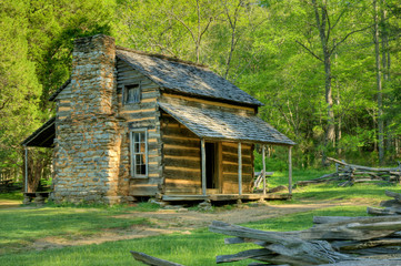 Publicly owned John Oliver's Cabin in Great Smoky Mountains National Park, Tennessee, USA