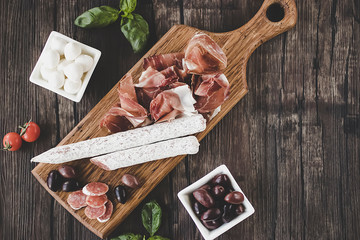 Prosciutto,  olives, mozzarella, salami, basil and cherry tomatoes on  brown wooden board.  Mediterranean kitchen.