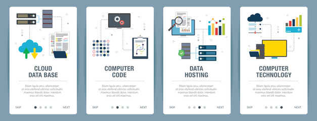 Vector set of vertical web banners with cloud data base, computer code, data hosting and computer technology. Vector banner template for website and mobile app development with icon set.