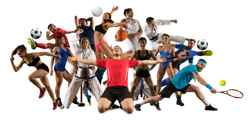 Multi sports collage taekwondo, tennis, soccer, basketball, etc Wall mural