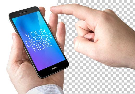 Smartphone in User's Hands Mockup