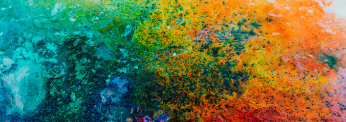 Banner background of colorful Holi powder on the snow Wall mural