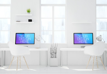 Two Desktop Computers in White Room Mockup