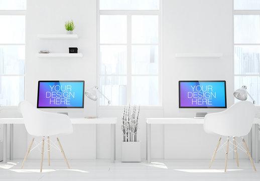 Two Desktop Computers in White Room Mockup