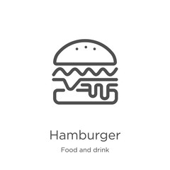 hamburger icon vector from food and drink collection. Thin line hamburger outline icon vector illustration. Outline, thin line hamburger icon for website design and mobile, app development.