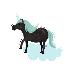 Black unicorn with a blue mane. Vector illustration.