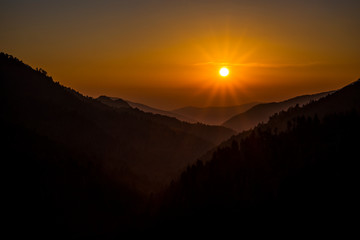 Near sunset at Morton's Overlook below Newfound Gap on the border of Tennessee and North Carolina.