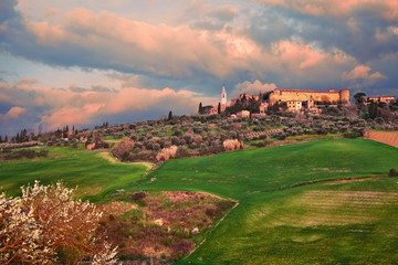 Pienza, Siena, Tuscany, Italy: landscape at dawn of the ancient hill town