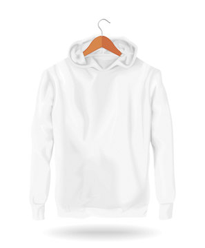 Hoodie Vector Mockup Template Realistic Fashion Sleeve Cotton Sweater Unisex