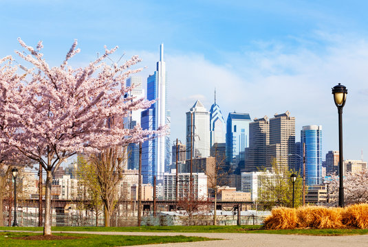 Philadelphia Center City district in spring, USA