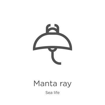 manta ray icon vector from sea life collection. Thin line manta ray outline icon vector illustration. Outline, thin line manta ray icon for website design and mobile, app development.