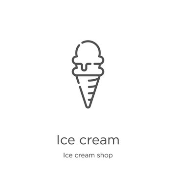 ice cream icon vector from ice cream shop collection. Thin line ice cream outline icon vector illustration. Outline, thin line ice cream icon for website design and mobile, app development.