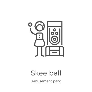 skee ball icon vector from amusement park collection. Thin line skee ball outline icon vector illustration. Outline, thin line skee ball icon for website design and mobile, app development.