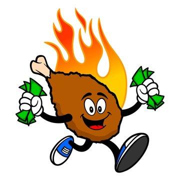 Hot Wing Mascot Running with Money - A cartoon illustration of a flaming Buffalo Wing Mascot.
