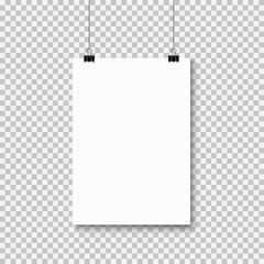 Wall Mural - Empty A4 sized paper frame mockup hanging with paper clip