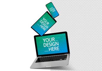 Floating Laptop, Tablet, and Smartphone Mockup