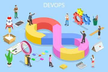 Isometric flat vector concept of DevOps, development and operations, software development, testing and support.