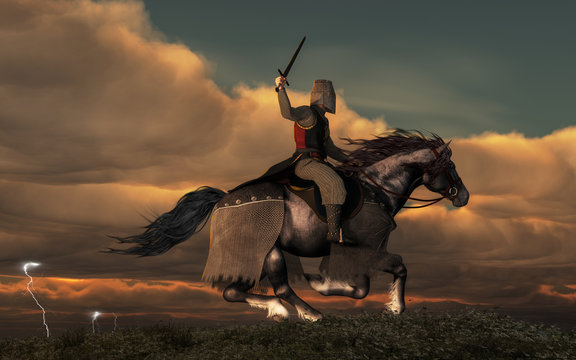 A knight on horseback charges across a field as storm in the background forks lightning and booms thunder. The paladin wears mail armor and a helmet. He holds aloft his sword. 3D Rendering