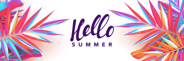 Summer banner. Background palm leaves branches of gradient color.