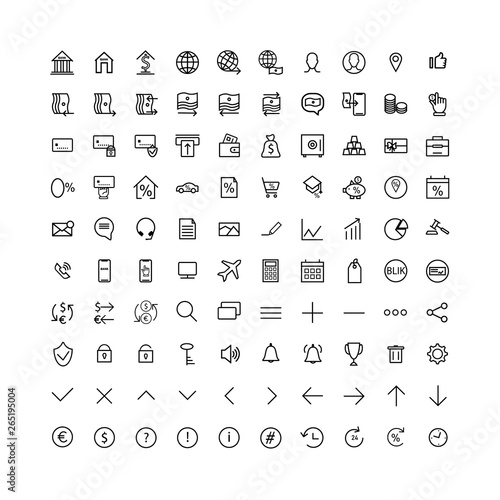 Set icons thin line of user interface and avatars for