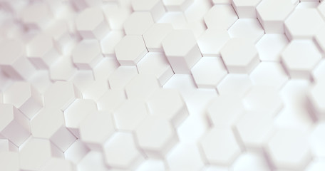 Abstract technological hexagonal background. 3d rendering. Geometric pattern. Graphic design elementfor wallpaper. Modern business card template