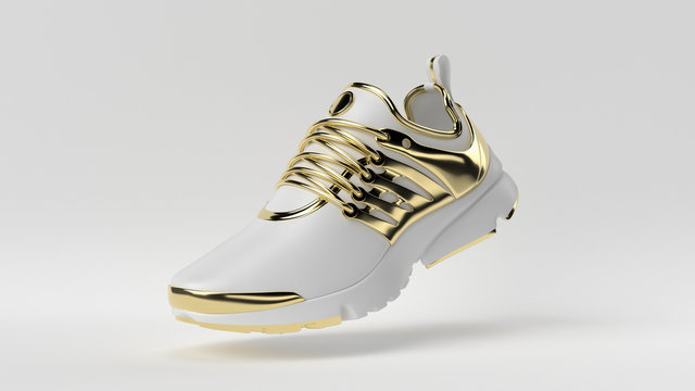 Creative minimal luxury product idea. Concept white and gold shoe with white background. 3d render.