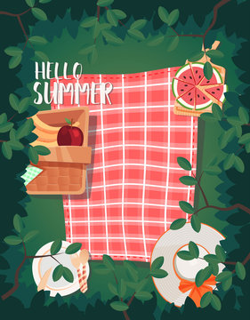 top view picnic summer design. can be use for greeting and invitation card. background , backdrop. vector illustration - Vector