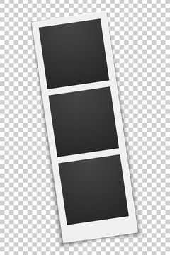 Squared empty photo template isolated on a transparent background. Triple frame. Photo, film card. Row rotated. Vector illustration.