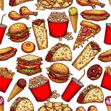 Fast food snacks, desserts seamless sketch pattern