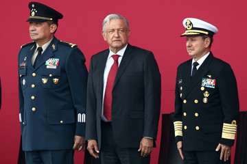 Mexico's President Obrador, Secretary of Defense Sandoval and Secretary of the Navy Admiral Duran participate in an official event to mark the beginning of the construction of a new international airport, at the Santa Lucia military airbase in Tecamac