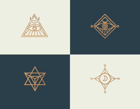 Set abstract linear isoteric logos golden mystical symbols
