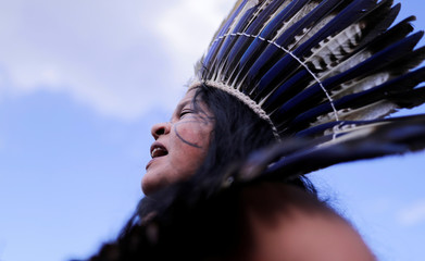 Indigenous Leader Sonia Guajajara is pictured at the Terra Livre camp, or Free Land camp, in Brasilia
